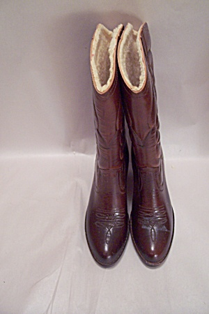 Women's Fleece-Lined Brown Western Boots (Image1)