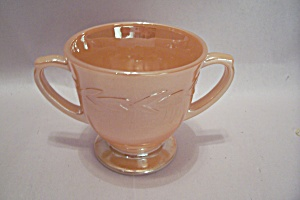 Fireking Laurel Pattern Peach Lustre Footed Sugar Bowl