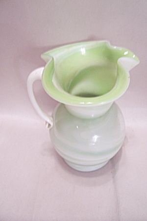 Green & White Slag Glass Art Glass Pitcher (Image1)