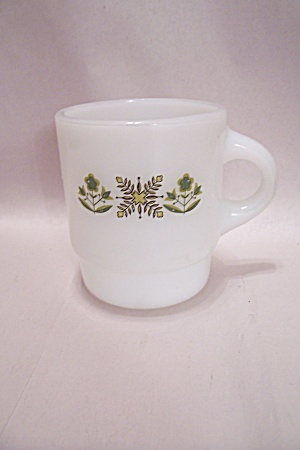 Fireking/anchor Hocking Meadow Green Pattern Mug