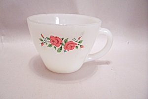 Fireking/anchor Hocking Pink Rose Pattern Cup