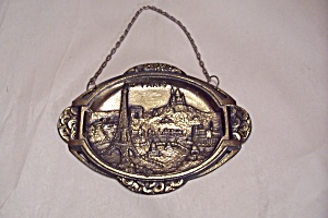Paris (France) Skyline Souvenir Brass Wall Hanging