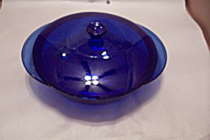 Anchor Hocking Cobalt Blue Glass Lidded 2 Qt Casserole
