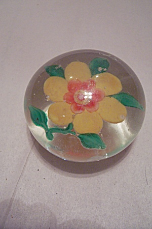Yellow Flower Glass Paperweight