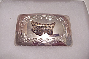 Nickle Plated Covered Wagon Western Men's Belt Buckle (Image1)