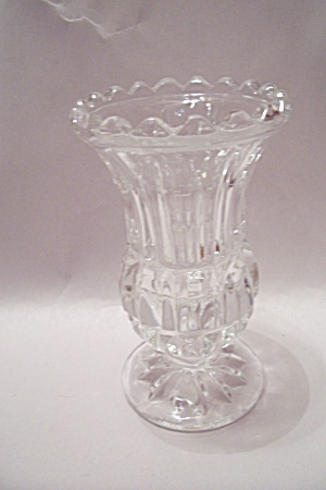 Lead Crystal Pattern Glass Footed Vase