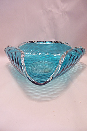 Murano Handblown Cased Blue Art Glass Folded Bowl (Image1)
