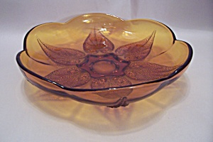Dark Amber Leaf Motif Glass Bowl (Image1)