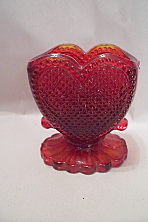 Amberina Heart-shaped Glass Pedestal Toothpick Holder