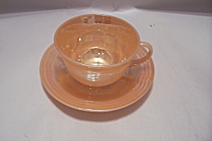 Fireking Laurel Pattern Peach Lustre Cup & Saucer
