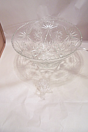 Early American Prescut Crystal Glass Punch Bowl