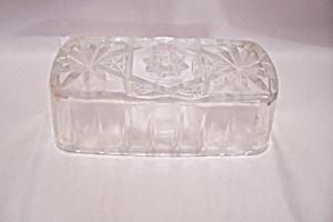 Early American Prescut Crystal Glass Butter Dish Lid