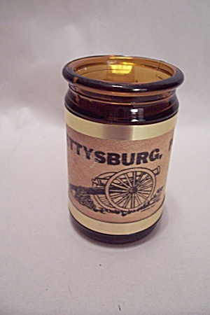 Mug Shaped Amber Glass Gettysburg, Pa Toothpick Holder