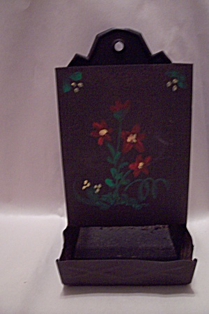 Tin Hand Painted Kitchen Match Box Holder (Image1)