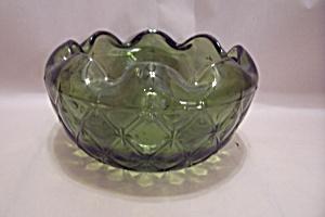 Green Glass Diamond Pattern Rose Bowl (Image1)