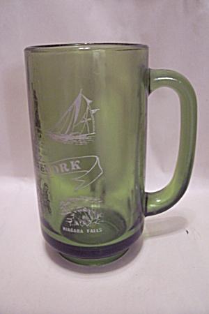 Avocado Green New York State Glass Beer Mug (Image1)