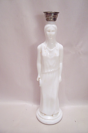 Avon Milk Glass Woman Figurine Bottle