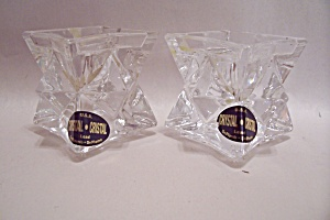 Pair Of Deplomo Lead Crystal Glass Candle Holders