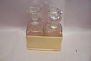 Crystal Glass Oil & Vinegar Set In Celluloid Case (Image1)
