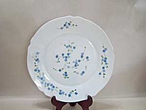French Blue Flower Glass Collector Plate