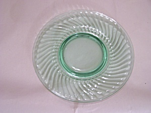 Light Green Depression Glass Footed Snack Plate