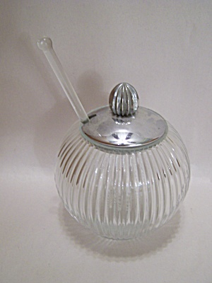 Crystal Glass Ribbed Honey Pot With Lid & Dipper (Image1)