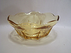 Light Amber Depression Glass Bowl