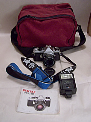 Pentax ME Super 35mm SLR Film Camera w/Bag, etc. (Image1)