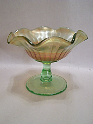 Fenton Carnival & Green Art Glass Compote