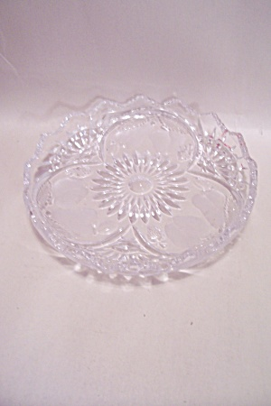 Crystal Glass Fruit Pattern Small Rimmed Dish