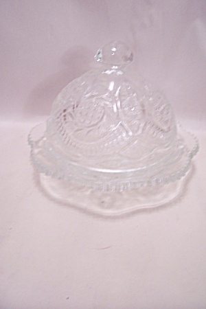 Crystal Pattern Glass Covered Cheese Dish
