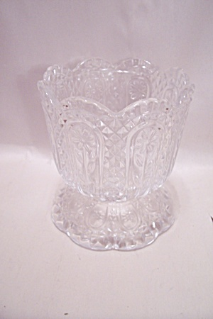 Crystal Pattern Glass Footed Bowl/vase