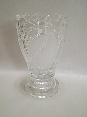 Crystal Glass Pear Motif Footed Vase