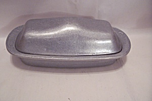Pewter & Glass Covered Butter Dish