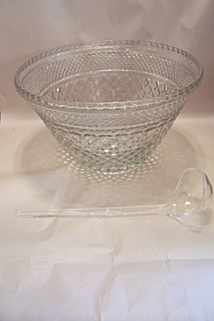 Anchor Hocking Wexford Pattern Crystal Glass Punch Bowl