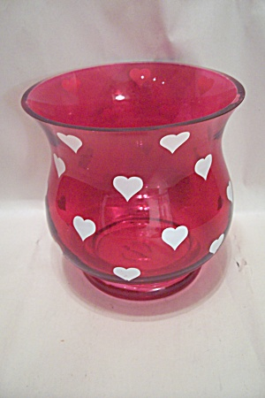 Handblown Red Art Glass Vase With White Hearts