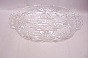 Anchor Hocking/fire King Eapc Crystal Glass Relish Dish