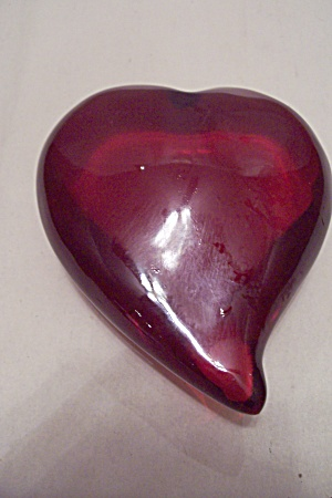 Ruby Red Glass Heart-shaped Paperweight