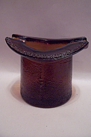 Amber Hat-shaped Glass Ash Tray