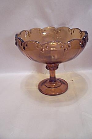 Amber Glass Pedestal Centerpiece Fruit Bowl (Image1)