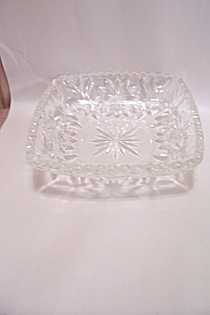 Crystal Pattern Glass Square Candy Dish