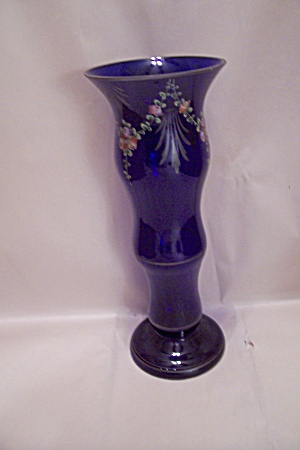 Handblown Cobalt Blue Decorated Art Glass Vase