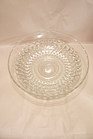 Crystal Pattern Glass Footed Salad Bowl