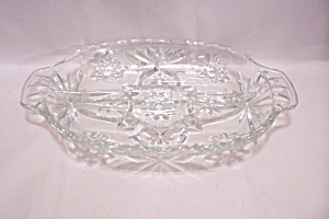 Fire King/anchor Hocking Eapc Crystal Glass Relish Dish