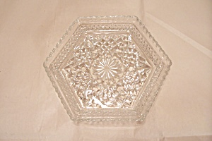 Crystal Pattern Glass Hexagonal Footed Candy Dish