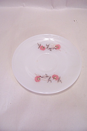 Fire King/anchor Hocking Pink Flower Pattern Saucer