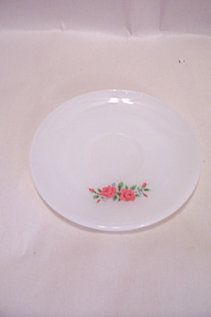 Fire King/anchor Hocking Red Rose Pattern Glass Saucer