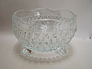 Crystal Pattern Glass 3-toed Bowl