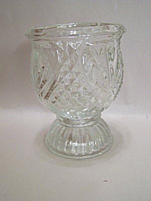 Dual Purpose Crystal Pattern Glass Candle Holder