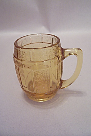 Amber Glass Barrel-shaped Mug Toothpick Holder